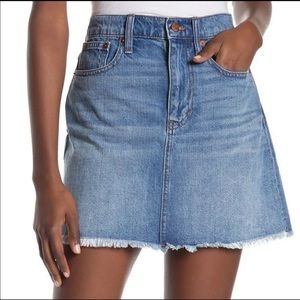 Madewell McCarren Raw Hem Denim Skirt 32